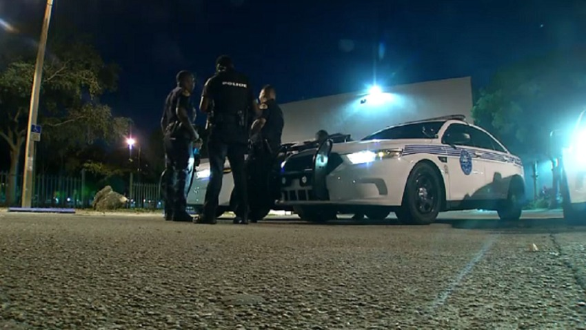 Police Officers Standing in Front of Cruiser Investigator Topper