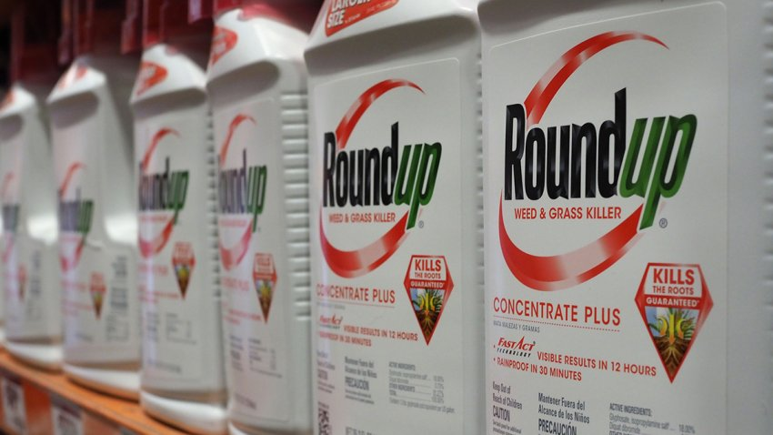 Bottles of Monsanto's Roundup are seen for sale, June 19, 2018, at a retail store in Glendale, Calif.