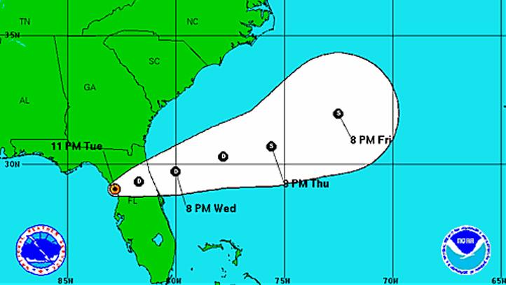 Tropical Depression Debby 11 pm Tuesday