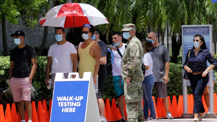 People wait in line at a walk-up testing site for COVID-19 during the new coronavirus pandemic, Tuesday, June 30, 2020, in Miami Beach, Fla.