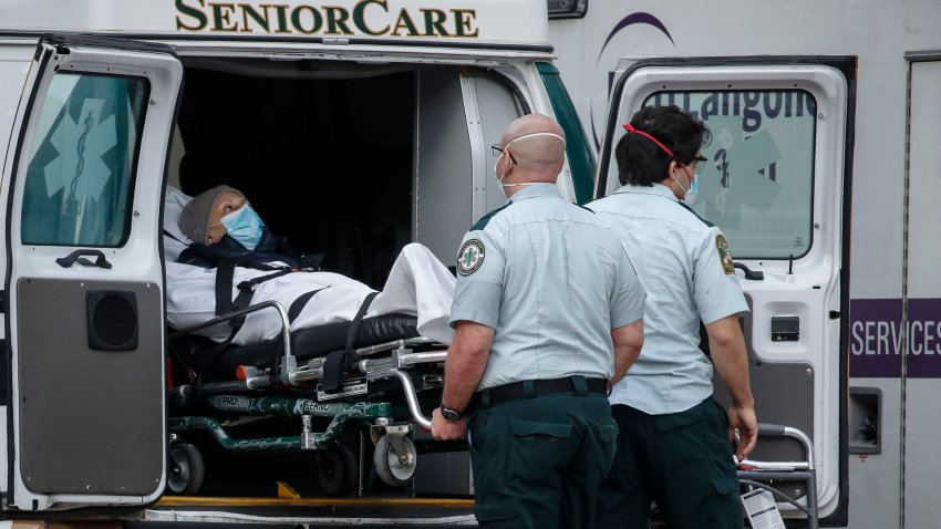 In this April 28, 2020, file photo, a patient is loaded into the back of an ambulance by medical personnel amid the coronavirus pandemic, outside NYU Langone Medical Center in New York.