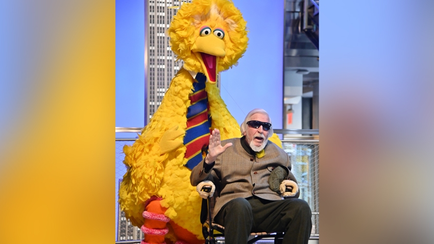 Sesame Street's Big Bird And Puppeteer Caroll Spinney Light The Empire State Building at The Empire State Building on November 08, 2019 in New York City.