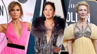 Jennifer Lopez' pink Georges Chakra gown, Sandra Oh's silver Cong Tri piece and Cate Blanchett's Mary Katrantzou dress are just three of several celebrity-worn pieces up for auction by Chic Relief to benefit health care workers working during the coronavirus pandemic.