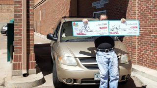 """Joe B"""" from Pueblo, Colorado, claims the two $1 million Powerball prizes he won on March 25."""