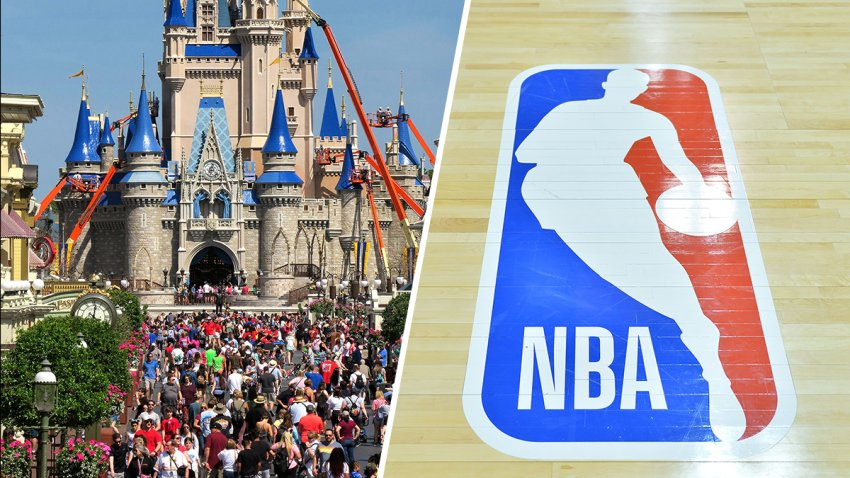 (Left) Main Street USA at the Disney World Resort. (Right) The NBA logo.