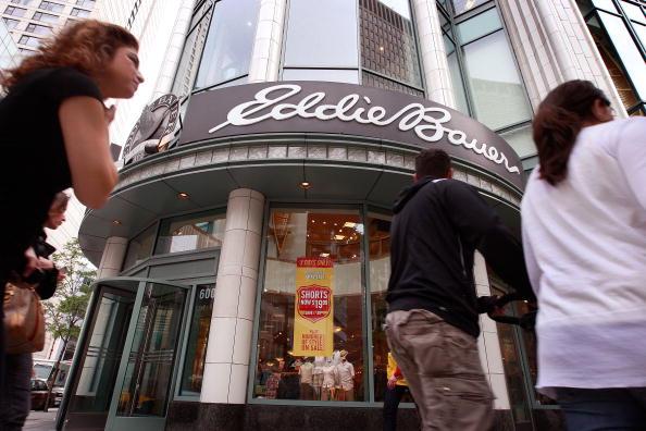 Pedestrians walk past an Eddie Bauer store along Michigan Avenue June 17, 2009 in Chicago, Illinois.
