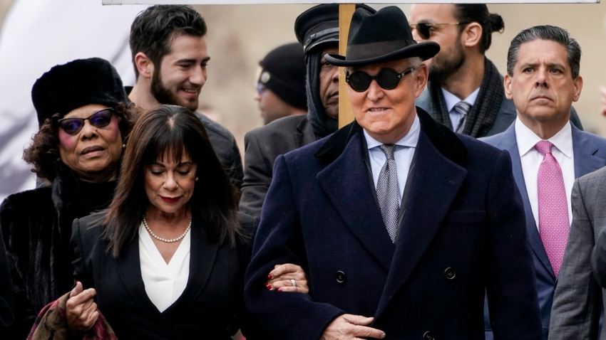 Roger Stone arrives at E. Barrett Prettyman United States Courthouse on February 20, 2020, in Washington, D.C.