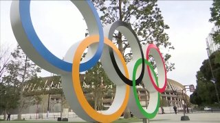 Olympic Rings outside a venue in Tokyo, Japan