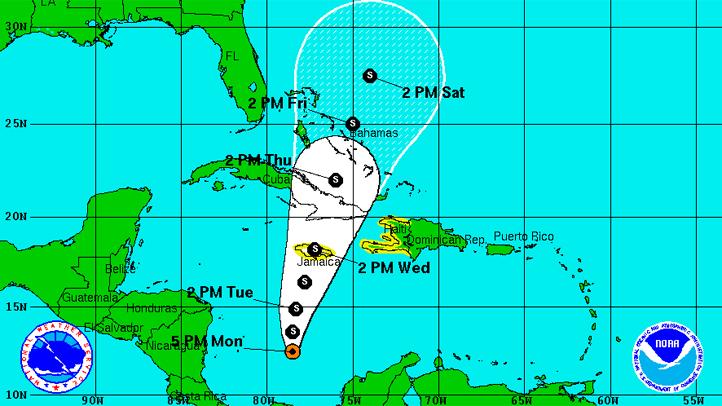 tropical storm sandy at 5 p.m.