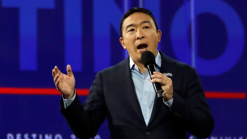 Democratic presidential candidate businessman Andrew Yang speaks during a presidential forum at the California Democratic Party's convention Saturday, Nov. 16, 2019, in Long Beach, Calif.