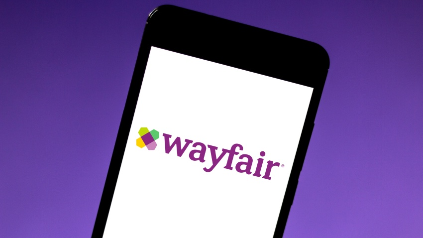 In this photo illustration the Wayfair logo is seen displayed on a smartphone