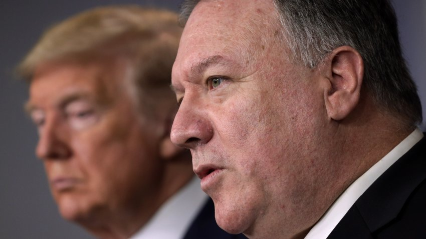 In this March 20, 2020, file photo, Secretary of State Mike Pompeo speaks as President Donald Trump listens during a news briefing on the latest development of the coronavirus outbreak in the U.S. at the James Brady Press Briefing Room at the White House in Washington, DC.