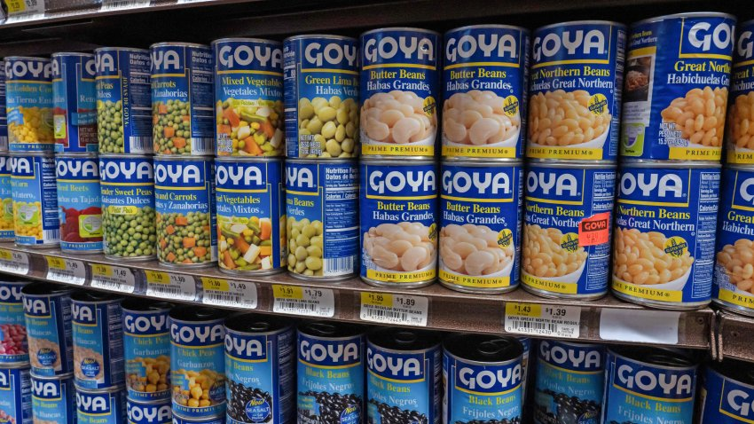Products of Goya Foods Company seen on shelves of a supermarket