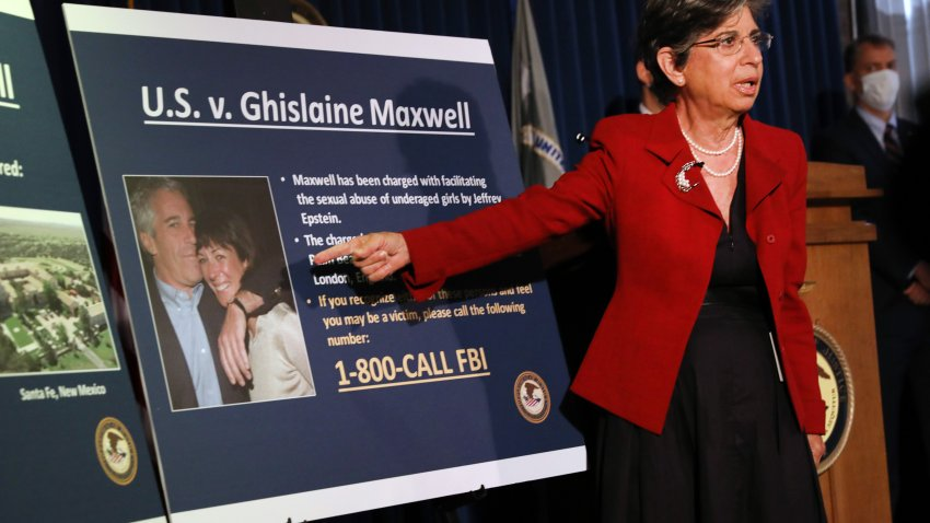 Audrey Strauss points to photo of Ghislaine Maxwell