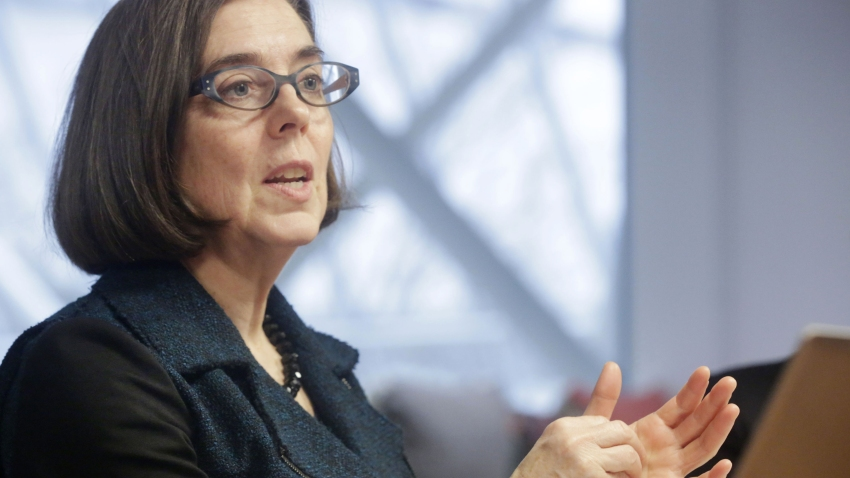 Kate Brown, governor of Oregon, speaks during an interview in Portland, Oregon, U.S. on Wednesday, Jan. 20, 2016.