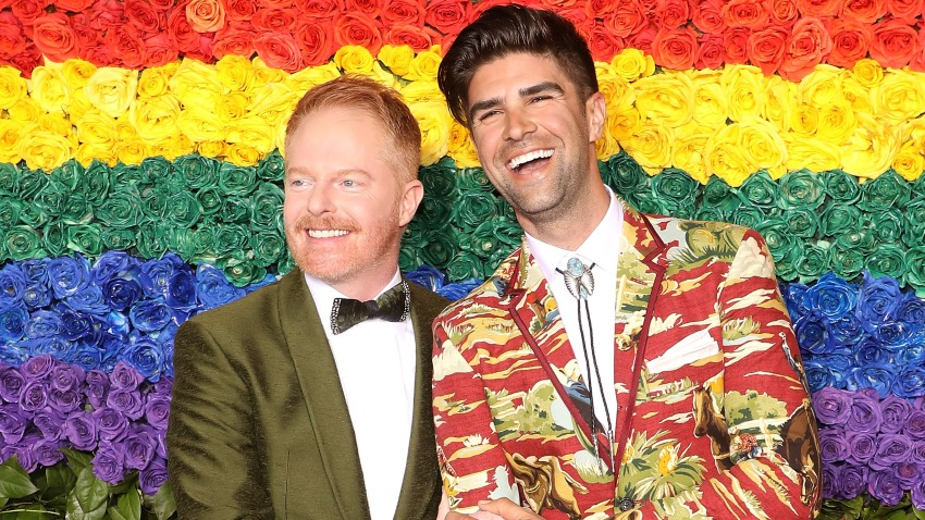 In this June 9, 2019, file photo, Jesse Tyler Ferguson and Justin Mikita attend the 2019 Tony Awards at Radio City Music Hall in New York City.