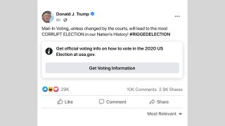 Facebook added an information label on this post from President Donald Trump.