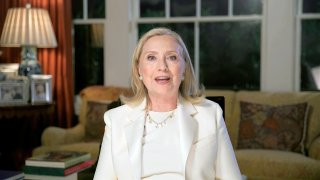 In this image from video, former Secretary of State Hillary Clinton speaks during the third night of the Democratic National Convention on Wednesday, Aug. 19, 2020.