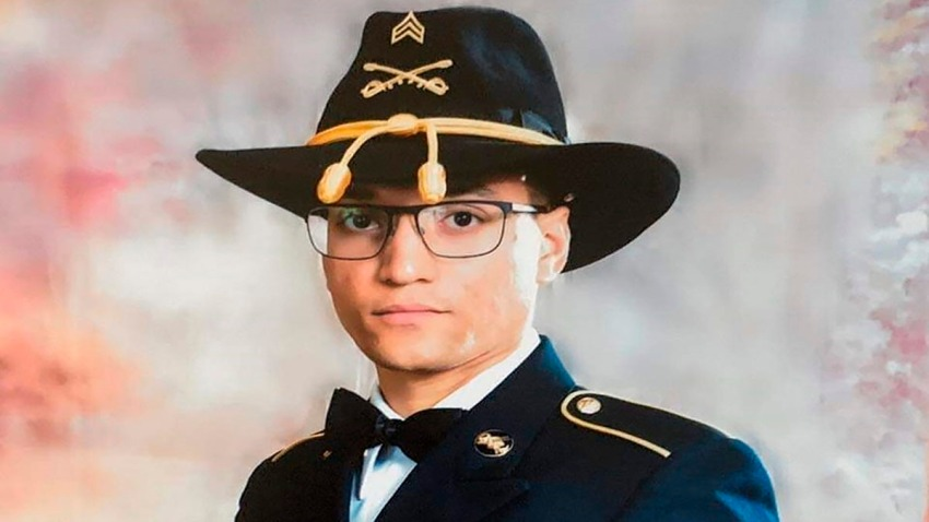 """This photo provided by the U.S. Army shows Sgt. Elder Fernandes. Fort Hood officials have issued a missing soldier alert for Fernandes. In the alert issued Aug. 20, 2020, officials said the 23-year-old soldier with the 1st Cavalry Division is the subject of an active search and that their """"primary concern is to ensure his safety and well-being."""""""