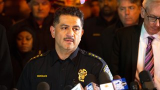 MILWAUKEE, WISCONSIN - FEBRUARY 26: Milwaukee Police Chief Alfonso Morales speaks to the media following a shooting at the Molson Coors Brewing Co. campus on February 26, 2020 in Milwaukee, Wisconsin. Six people, including the gunman, were reportedly killed when an ex-employee opened fire at the MillerCoors building on Wednesday.