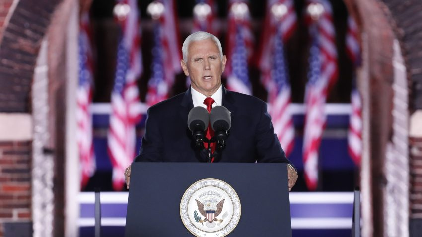 U.S. Vice President Mike Pence speaks during the Republican National Convention at Fort McHenry National Monument and Historic Shrine in Baltimore, Maryland, U.S., on Wednesday, Aug. 26, 2020. Pence will make the case for a second term for himself and President Trump today capping a night at the convention designed to emphasize the military, law enforcement and public displays of patriotism.