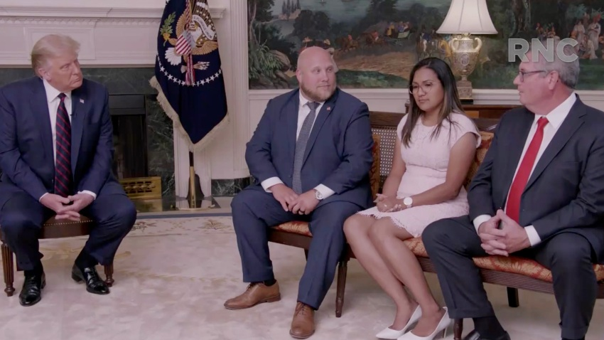 In this screenshot from the RNC's livestream of the 2020 Republican National Convention, U.S. President Donald Trump (L) speaks with freed hostages (L-R) Joshua and Tamara Holt and Pastor Bryan Nerran in a pre-recorded video broadcasted during the virtual convention on August 24, 2020.