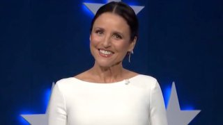 In this screenshot from the DNCC's livestream of the 2020 Democratic National Convention, actress Julia Louis-Dreyfus hosts the virtual convention on August 20, 2020. The convention, which was once expected to draw 50,000 people to Milwaukee, Wisconsin, is now taking place virtually due to the coronavirus pandemic.