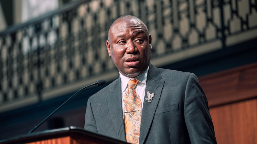 Civil rights attorney Ben Crump speaks at a press conference at Louisville City Hall, Sept. 15, 2020, in Louisville, Ky.