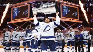 Blake Coleman #20 of the Tampa Bay Lightning hoists the Stanley Cup overhead after the Tampa Bay Lightning defeated the Dallas Stars 2-0 in Game Six of the NHL Stanley Cup Final to win the best of seven game series 4-2 at Rogers Place on Sept. 28, 2020 in Edmonton, Alberta, Canada.