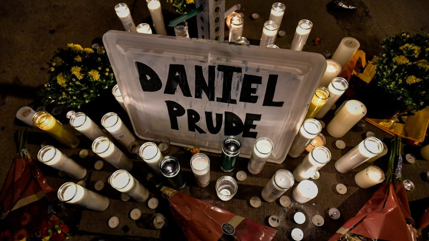 A makeshift memorial is seen, Wednesday, Sept. 2, 2020, in Rochester, N.Y., near the site where Daniel Prude was restrained by police officers.