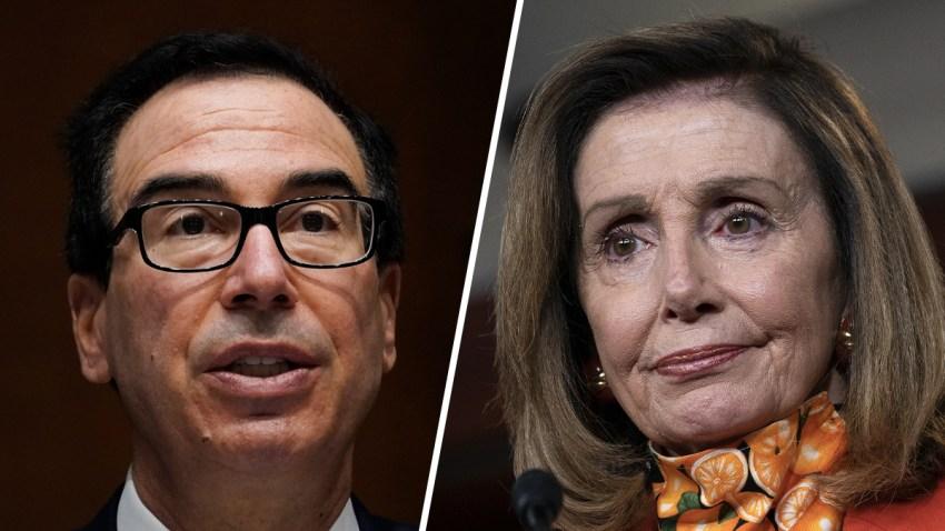 Steven Mnuchin, Treasury secretary (left) and House Speaker Nancy Pelosi (right).