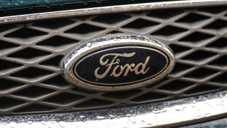 KRAKOW, POLAND - 2020/07/18: A logo of Ford, an American multinational automobile manufacturer, seen on a parked car in Krakow.