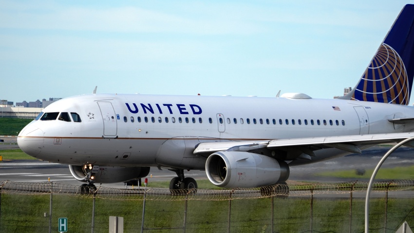 NEW YORK, UNITED STATES - 2020/08/26: A view of a United Airlines aircraft taxiing at La Guardia Airport.