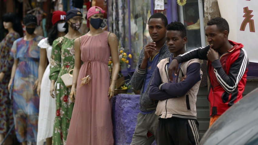 Mannequins with mask are placed in front of a shop to draw attention to the importance of the mask against the coronavirus (COVID-19) pandemic in Addis Ababa, Ethiopia on September 25, 2020.