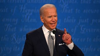Democratic Presidential candidate and former US Vice President Joe Biden speaks during the first presidential debate at the Case Western Reserve University and Cleveland Clinic in Cleveland, Ohio on September 29, 2020.