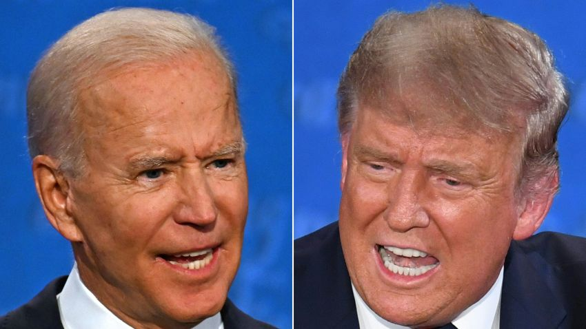 This combination of pictures created on September 29, 2020 shows Democratic Presidential candidate and former US Vice President Joe Biden (L) and US President Donald Trump speaking during the first presidential debate at the Case Western Reserve University and Cleveland Clinic in Cleveland, Ohio on September 29, 2020.