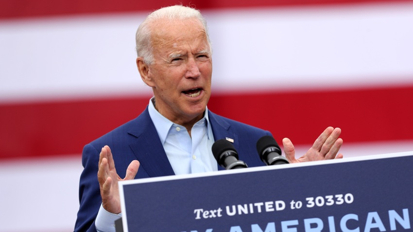 WARREN, MICHIGAN - SEPTEMBER 09: Democratic presidential nominee and former Vice President Joe Biden delivers remarks in the parking lot outside the United Auto Workers Region 1 offices on September 09, 2020 in Warren, Michigan. Biden is campaigning in Michigan, a state President Donald Trump won in 2016 by less than 11,000 votes, the narrowest margin of victory in state's presidential election history.