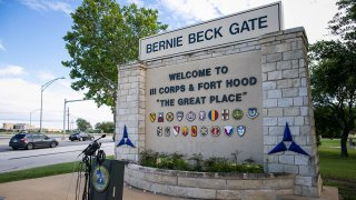 In this June 3, 2016, file photo, the Bernie Beck gate at Fort Hood is seen in Fort Hood, Texas.