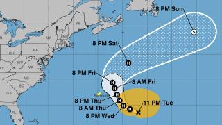 Forecast cone of Hurricane Epsilon