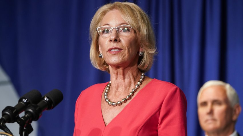 Betsy DeVos, U.S. secretary of education, speaks during a White House Coronavirus Task Force briefing at the Department of Education in Washington, D.C., U.S., on Wednesday, July 8, 2020. President Donald Trump today said he may cut funding if schools do not open before the November election.