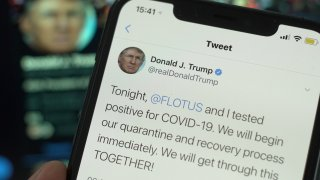 Photo illustration showing a tweet by president Donald Trump saying he and his wife have coronavirus