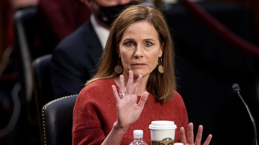 Supreme Court nominee Judge Amy Coney Barrett testifies during her confirmation hearing before the Senate Judiciary Committee on Capitol Hill in Washington, DC, on October 13, 2020.