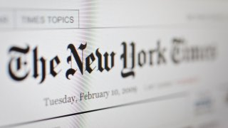 The New York Times homepage on the internet