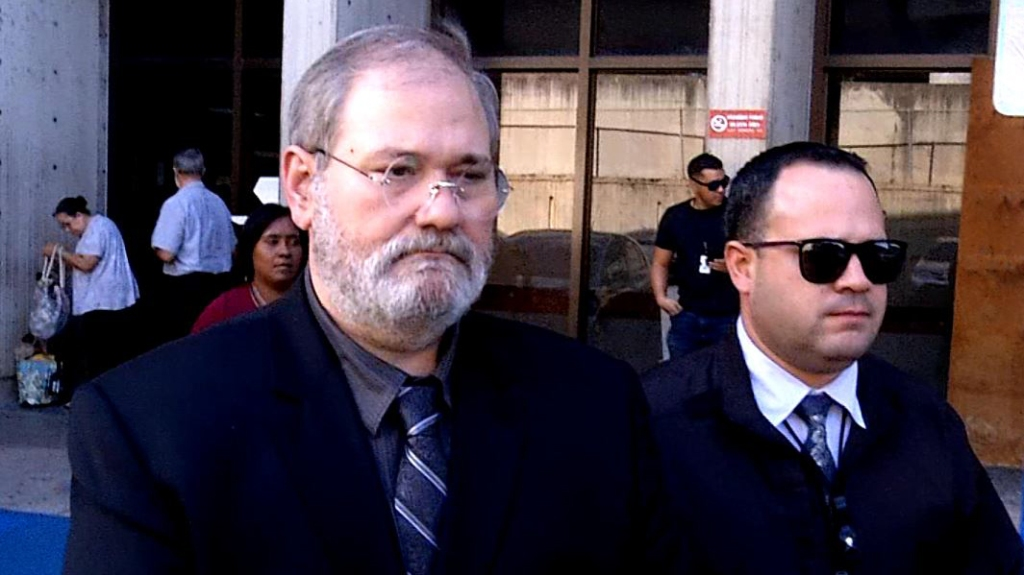 """Salvatore """"Sam"""" Anello leaves court on Oct. 29, 2019, in San Juan, Puerto Rico. Anello pled guilty to negligent homicide in the death of his 18-month-old granddaughter, Chloe, after she fell from a window on a cruise ship docked in Puerto Rico."""