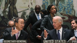 In this file photo, U.S. Vice President Joe Biden (2nd R) speaks with U.N. Secretary-General Ban Ki-moon (L) as U.S. Ambassador to the UN Susan Rice (3rd R) looks on at a high-level United Nations Security Council meeting at UN headquarters December 15, 2010 in New York City.