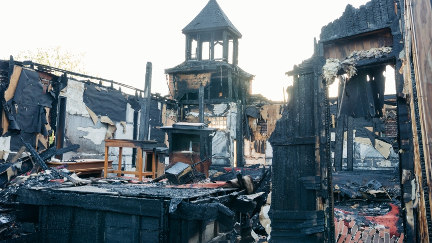 OPELOUSAS, LA APRIL21:The Mt. Pleasant Baptist Church on Easter April 21, 2019 in Opelousas, Louisiana. The church was set on fire along with two other Opelousas churches in the span of a week.