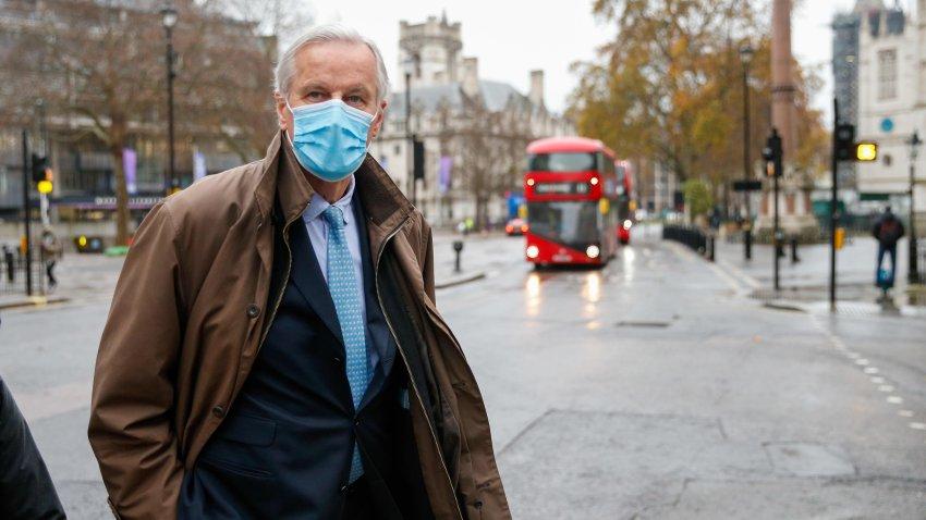 Michel Barnier, European Union (EU) chief negotiator, departs from his hotel to attend Brexit talks in London, U.K.