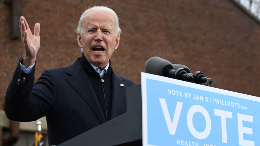 In this Dec. 15, 2020, file photo, US President-elect Joe Biden speaks during a campaign rally to support Democratic Senate candidates in Atlanta, Georgia.