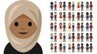 an emoji depicting a girl in a headscarf, left, and a collection of inter-skintone couples