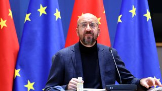 Charles Michel, president of the European Council, pauses during a EU-China investment accord virtual meeting in the Europa Building in Brussels, Belgium, on Wednesday, Dec. 30, 2020. TheEuropean Unionand China announced the political approval of a long-sought agreement to open the Chinese market further to EU investors, marking an economic victory for both sides.